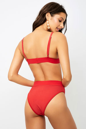 Frankies Bikinis Gabrielle Cherry High Waisted Ribbed Bottom
