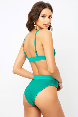 Frankies Bikinis Gabrielle Emerald High Waist Cheeky Bottom