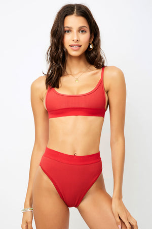 Frankies Bikinis Gabrielle Cherry Sporty Ribbed Top