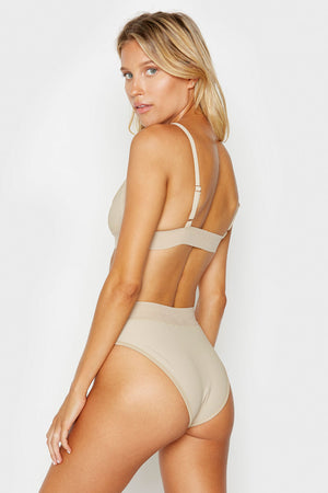 Frankies Bikinis Gabrielle Latte Sporty Ribbed Top