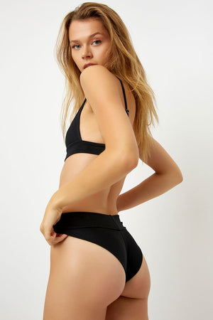 Frankies Bikinis Gavin Black Ribbed Cheeky Bottom