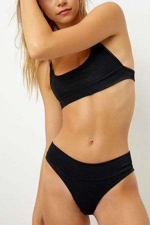 Frankies Bikinis Gavin Black Ribbed Bralette Top