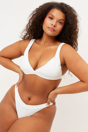 Frankies Bikinis Georgia White Ribbed Low V-neck Tri Top extended sizing