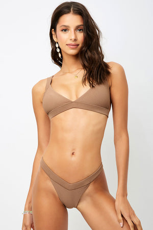 Frankies Bikinis Georgia Brownie Ribbed Low V-neck Tri Top