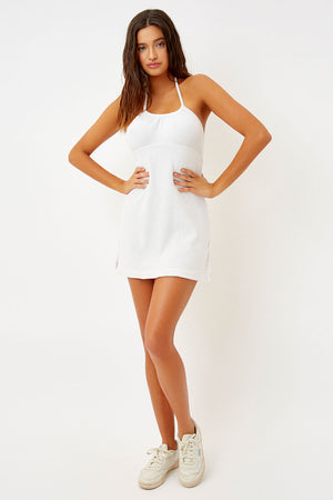 Frankies Bikinis Gigi White Terry Dress