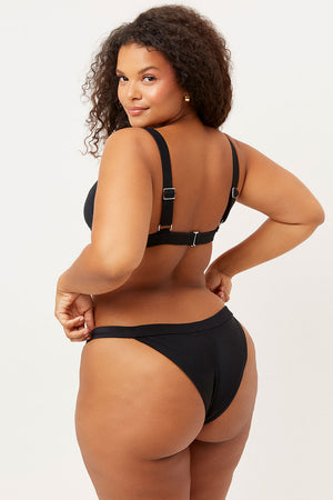 Frankies Bikinis Grace Black V shape Ribbed Cheeky Bottom