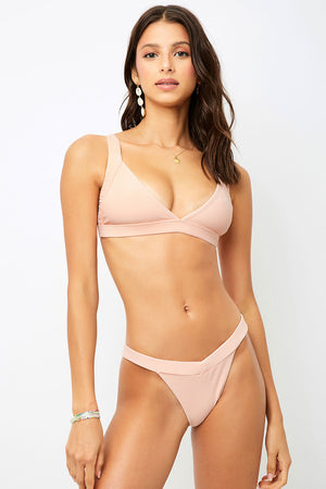 Frankies Bikinis Grace Peach V shape Ribbed Cheeky Bottom
