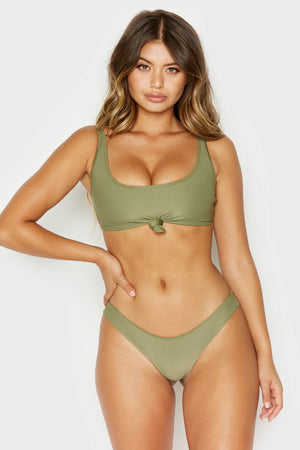 Frankies Bikinis Greer Olive Ribbed Scoop Neck Top with Knotted Detail