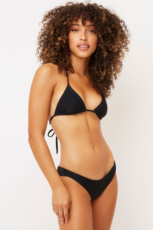 Frankies Bikinis Greer Black Ribbed Cheeky Bottom