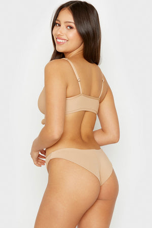 Frankies Bikinis Greer Nude Ribbed Cheeky Bottom