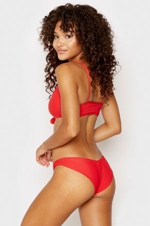Frankies Bikinis Greer Red Ribbed Cheeky Bikini Bottom