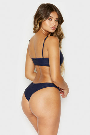 Frankies Bikinis Greer Navy Ribbed Cheeky Bottom