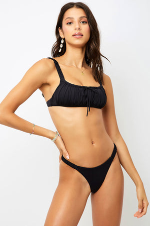 Frankies Bikinis Greta Black Ruched Skimpy Bottom