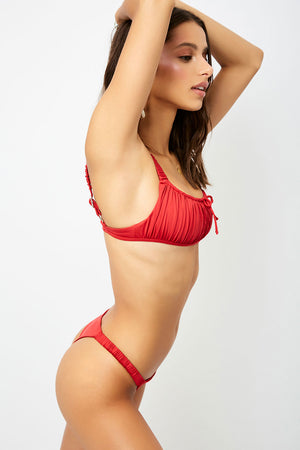 Frankies Bikinis Greta Red Ruched Skimpy Bottom