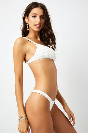 Frankies Bikinis Greta White Ruched Skimpy Bottom