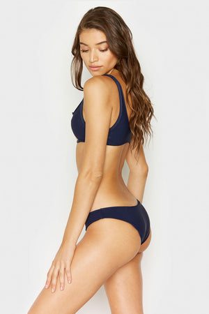 Frankies Bikinis Hanalei Navy Ribbed Booty Bottom