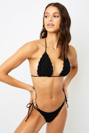 Frankies Bikinis Haze Black Skimpy Crochet Bottom