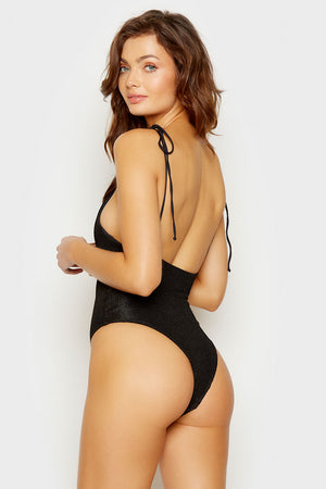 Frankies Bikinis Black Hide and Seek One Piece with Tie Straps
