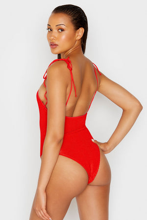 Frankies Bikinis Hide and Seek Red Scrunch One Piece with Shoulder Ties