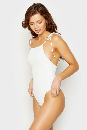 Frankies Bikinis White Hide and Seek One Piece with Tie Straps