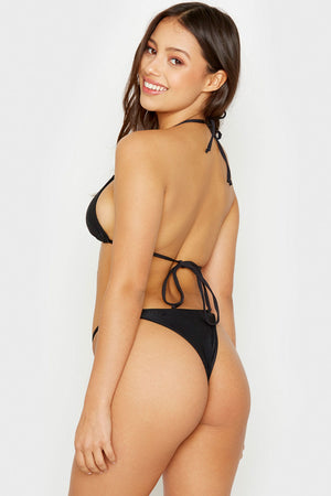Frankies Bikinis Isabel Black Ring Details Skimpy Ribbed Bottoms