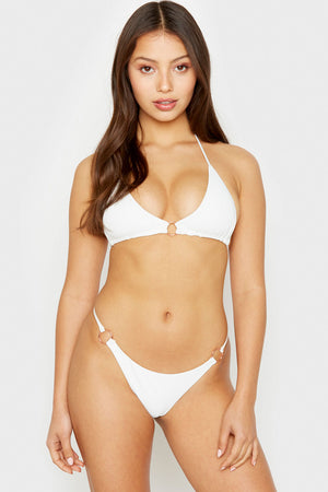 Frankies Bikinis Isabel White Ring Detail Triangle Ribbed Top