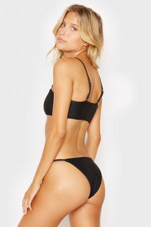 Frankies Bikinis Izzy Black Ring Details Cheeky Ribbed Bottoms