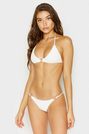 Frankies Bikinis Izzy White Ring Details Cheeky Ribbed Bottom