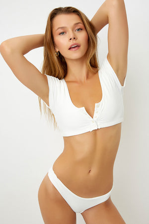 Frankies Bikinis White James Shirt Top with Button Detail