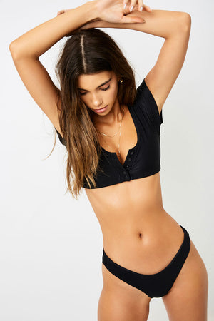 Frankies Bikinis James Black Ribbed T-shirt Crop Top