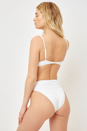 Frankies Bikinis Swimwear Jasper Eyelet High Waist Bottom White