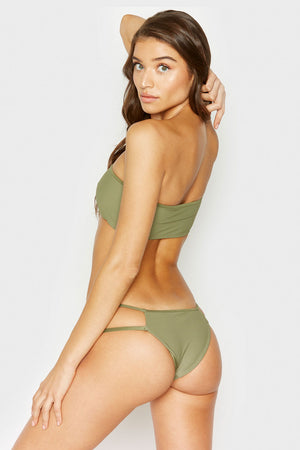 Frankies Bikinis Jaymi Olive Ribbed One Shoulder Top