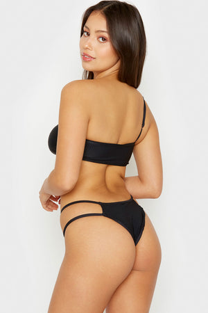 Frankies Bikinis Jaymi Black Ribbed Seamless Cheeky Bottom with Strappy Side Detail