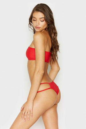 Frankies Bikinis Jaymi Red Ribbed Seamless Cheeky Bottom with Strappy Side Detail