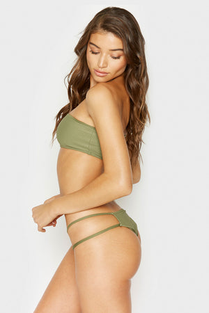 Frankies Bikinis Jaymi Olive Ribbed Seamless Cheeky Bottom with Strappy Side Detail