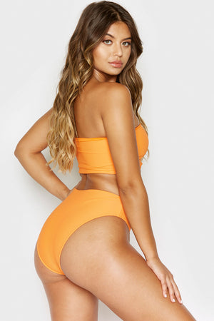 Frankies Bikinis Jenna Citrus Ribbed High Waisted Booty Coverage Bottom
