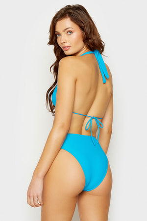 Frankies Bikinis Jenna Azure High Waisted Cheeky Bottom
