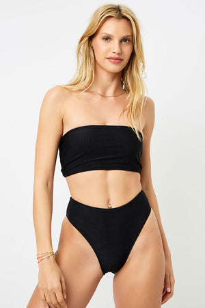 Frankies Bikinis Jenna Black Ribbed High Waisted Booty Coverage Bottom