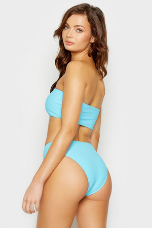 Frankies Bikinis Jenna Oasis High Waisted Ribbed Bottom with Booty Coverage