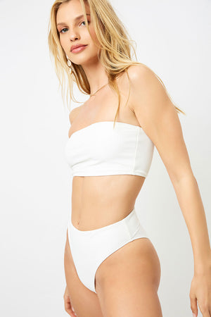 Frankies Bikinis Jenna White High Waist Ribbed Booty Bottom