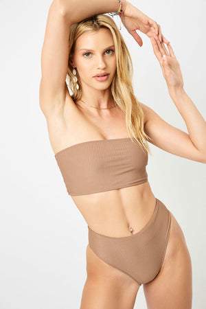 Frankies Bikinis Jenna Brownie Ribbed Bandeau Top