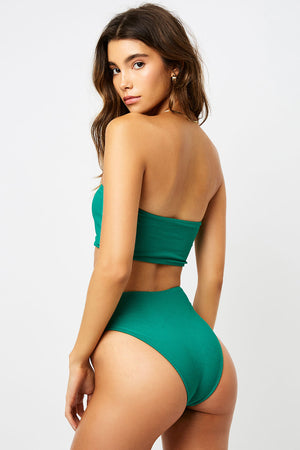 Frankies Bikinis Jenna Emerald Strapless Ribbed Top
