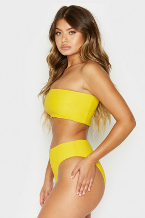 Frankies Bikinis Jenna Amber Ribbed High Waisted Booty Coverage Bottom