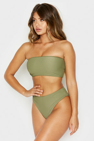 Frankies Bikinis Jenna Olive Ribbed High Waisted Booty Coverage Bottom