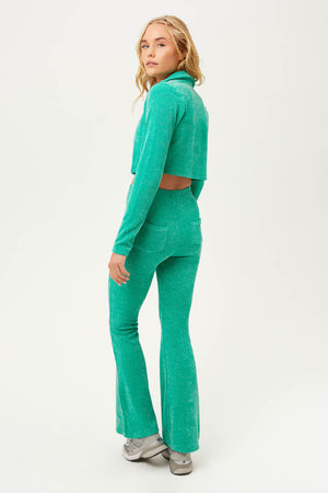 Johnson Mistletoe Green Lurex Terry Flare Sweatpants
