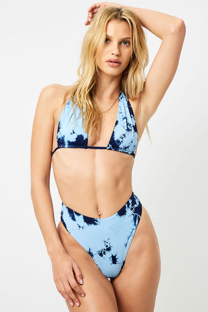 Frankies Bikinis Jordan Blue Tie Dye High Waisted Cheeky Bottom