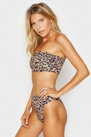Frankies Bikinis Juju Leopard High Waisted Booty Coverage Bottom