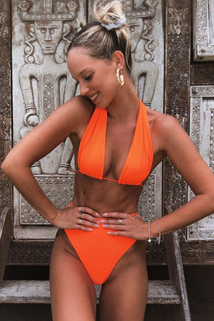Frankies Bikinis Julianne Tangerine Halter Top