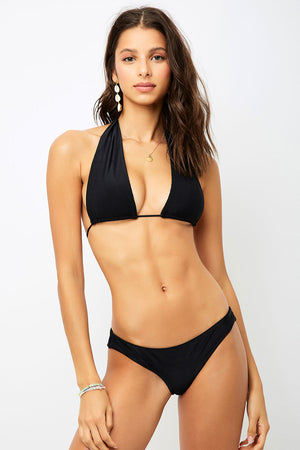 Frankies Bikinis Julianne Black Ribbed Halter Top