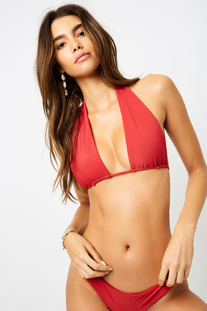 Frankies Bikinis Julianne Cherry Ribbed Halter Top